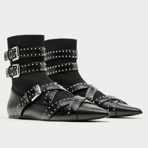 NWOB Zara 38 Buckle Sock Ballet Flats Goth